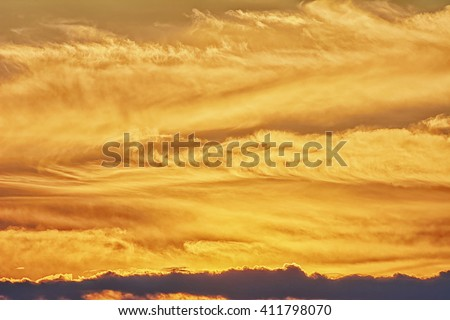 Golden sunrise  sunset with clouds - stock photo