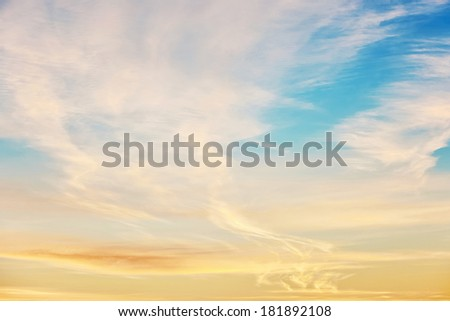 Golden sunrise with clouds - stock photo