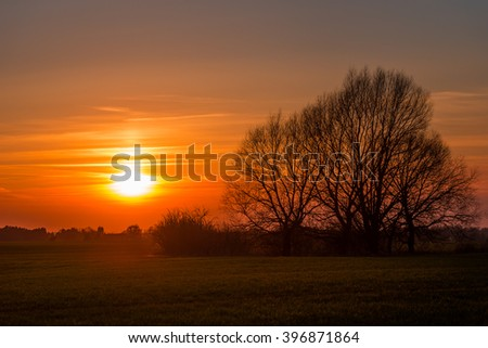 Golden sunset in Brandeburg, Germany