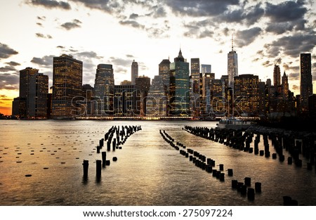 Golden sunset on lower Manhattan - stock photo