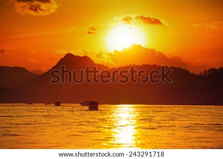 Golden sunset on the Mekong River, Vietnam. Asia