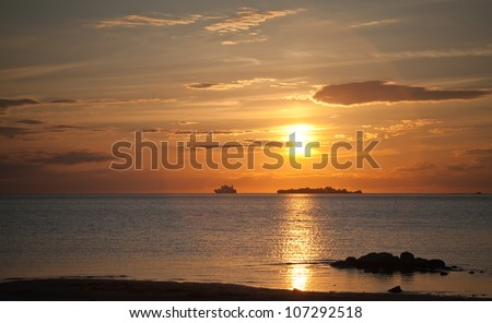 Golden sunset on the sea - stock photo