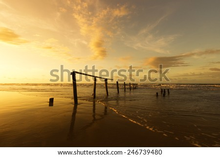Golden sunset scenery at the beach