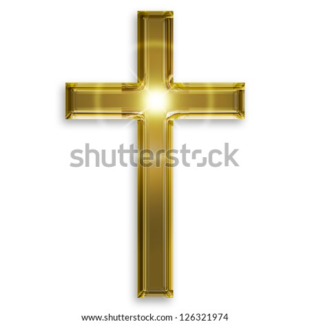 golden symbol of crucifix isolated on white background - stock photo