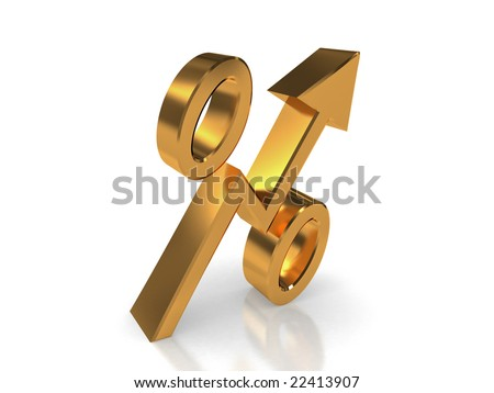 Golden symbol of percentage in form of increasing  arrow - stock photo