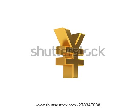 Golden symbol of RMB no background - stock photo