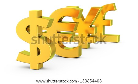 Golden symbols of dollar, euro, yen and pound