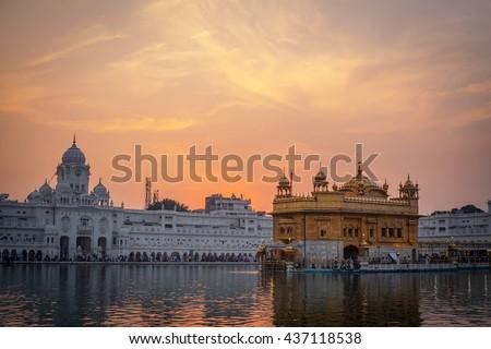 Golden Temple at sunset, Amritsar - India - stock photo