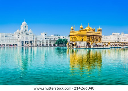 Golden Temple (Harmandir Sahib) in Amritsar, Punjab, India - stock photo