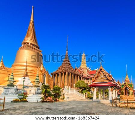 Golden Temple Wat Phra Kaeo, Temple of the Emerald Buddha Bangkok, Asia Thailand - stock photo