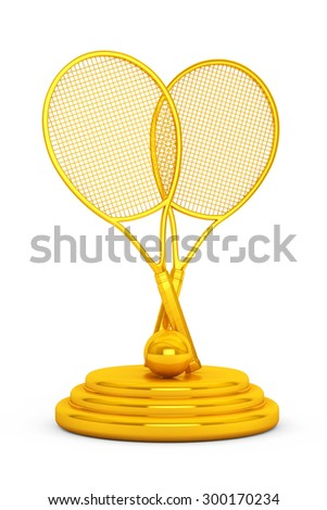 Golden Tennis Trophy on a white background - stock photo