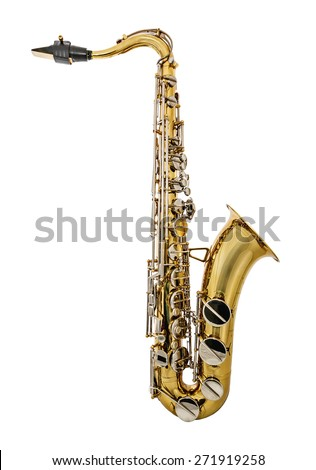 Golden Tenor Saxophone isolated on white background. Golden Tenor Sax with silver keys or buttons. Mouthpiece with reed. - stock photo