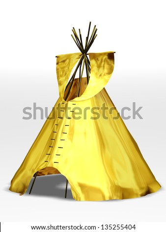 golden tepee, wigmam or tent - stock photo