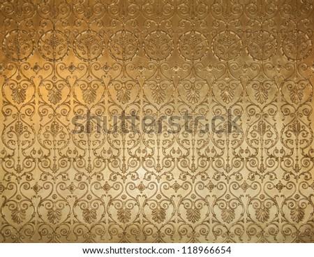 golden texture on the wall - stock photo
