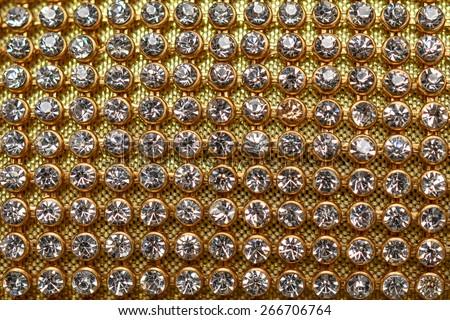 golden texture with diamonds - stock photo