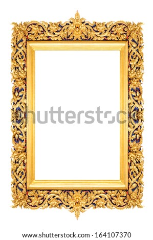 Golden Thai rectangle style frame isolated on white background