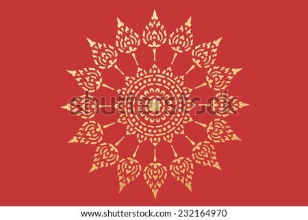 golden thai style pattern traditional art, art decorated in buddhist temple - stock photo
