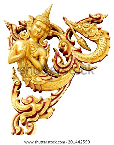 Golden Thai style statue acting Wai or Sawasdee - greeting and respect sign - stock photo