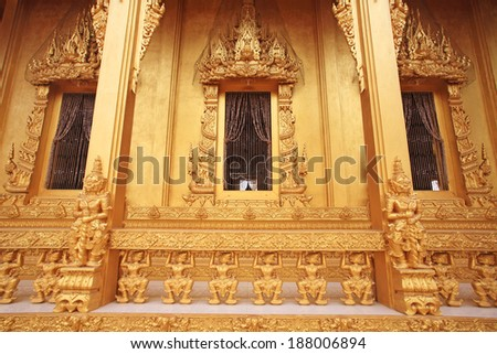 "Golden Thai temple architecture of Wat Pak Nam ""Joe Low"" in Chachoengsao province, Thailand"