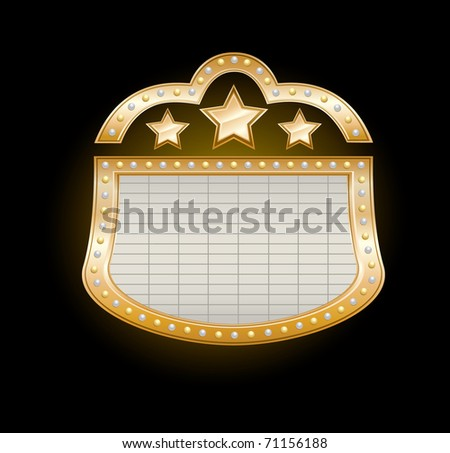 Golden Theater Marquee with stars and  lights on black, - stock photo