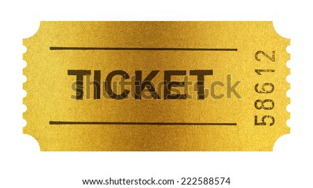Golden ticket isolated on white with clipping path included - stock photo