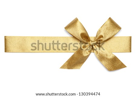 Golden Tie from present ribbon. Isolated on white background. - stock photo