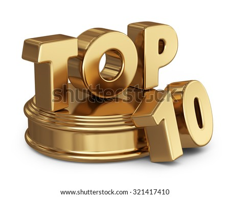 Golden top 10 list. 3D icon isolated on white background - stock photo