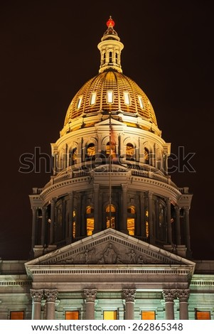 Golden Tower of Colorado Capitol Building at Night. Denver, Colorado, United States. - stock photo