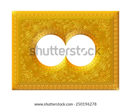 Golden Traditional Arabian pattern on isolated white background. - stock photo