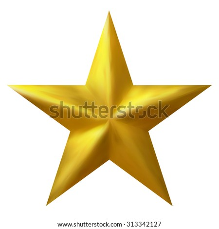 Golden Traditional Christmas Star Isolated on White Background - Graphic Illustration