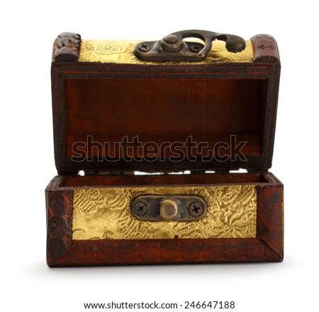 Golden treasure chest trunk on white background