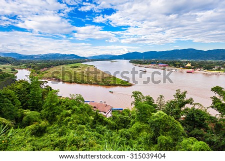 Golden Triangle at Mekong River, Chiang Rai Province, Thailand - stock photo