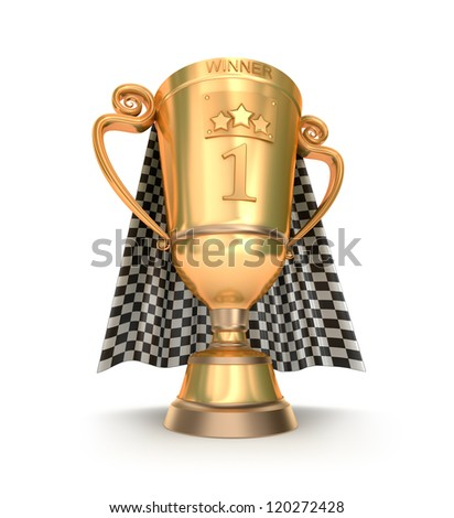 Golden trophy and racing flag - stock photo