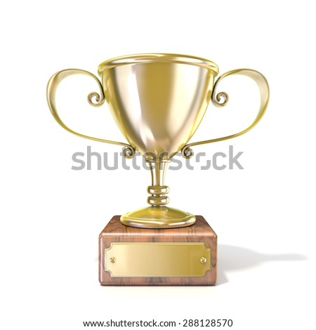 Golden trophy cup. 3D render illustration isolated on white background - stock photo
