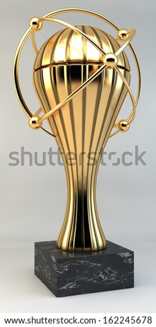 Golden trophy, cup, goblet, spacey design, linear illumination, background, 3d rendering - stock photo