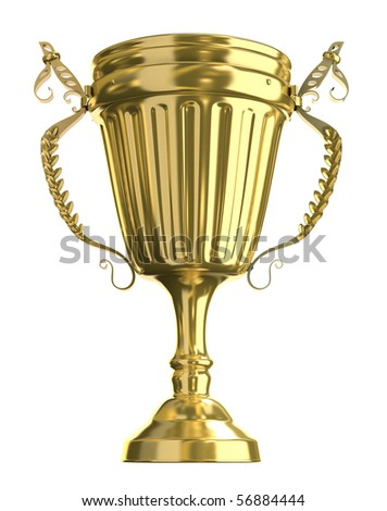 Golden trophy cup, isolated on white - stock photo