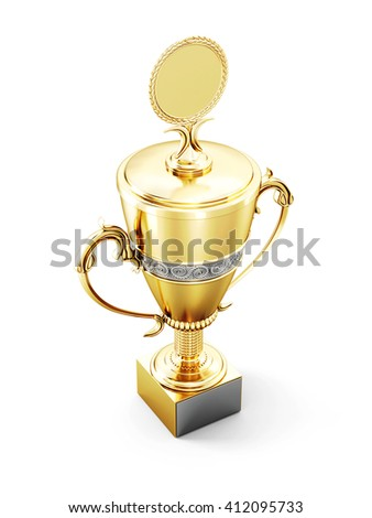 Golden trophy cup isolated on white background. 3d render image.