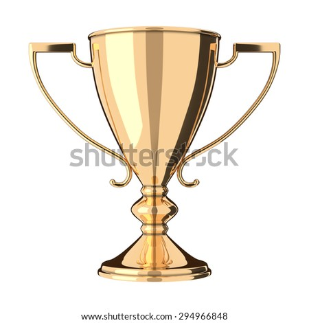 Golden trophy cup isolated on white background. Victory, best product, service or employee, first place concept. Achievement in sports. Isolated on white background. - stock photo