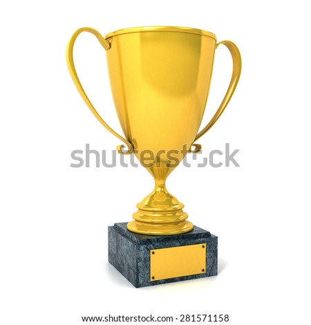 Golden Trophy Isolated on White Background - stock photo