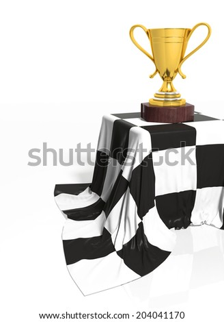 Golden trophy on stand with race flag isolated