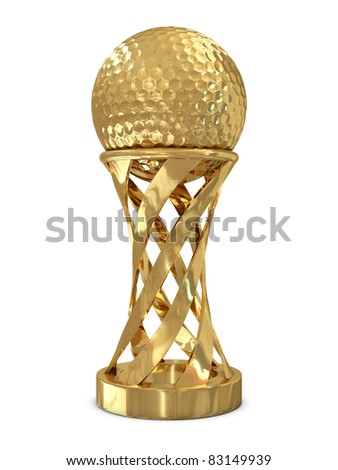 Golden trophy with golf ball isolated on white background - stock photo