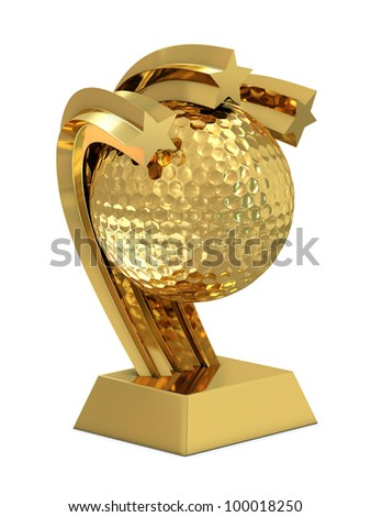 Golden trophy with stars and golf ball isolated on white background - stock photo