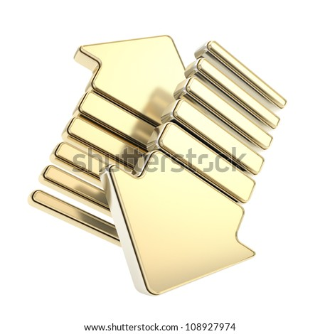 Golden up and down arrow glossy arrow icon emblem isolated on white - stock photo