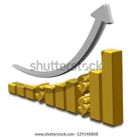 Golden upward chart with dollar symbols and an arrow / Investment chart - stock photo