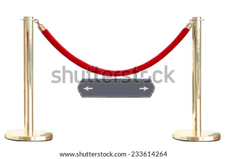 Golden velvet red rope barrier block entrance isolated on white background This has clipping path.  - stock photo