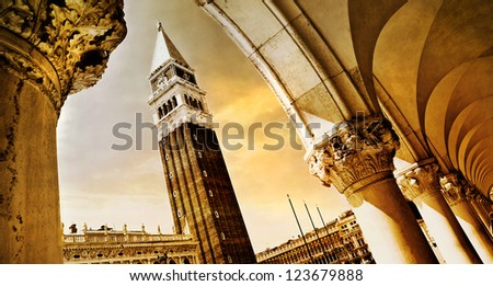 golden Venetian sunset - stock photo
