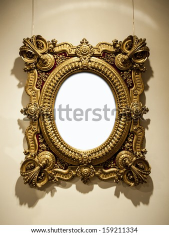Golden vintage frame  - stock photo