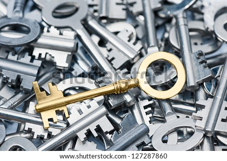 Golden vintage key on an array different keys. - stock photo