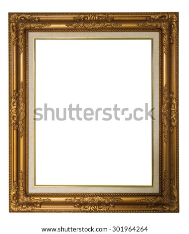 golden vintage luxury frame isolated on white for background - stock photo