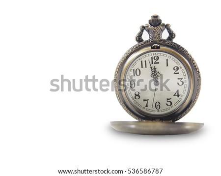 Golden vintage pocket watch isolated on white background.Time concept. Copy space.